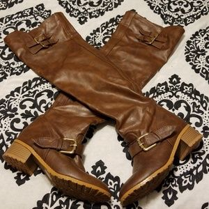 Brown Over the Knee Faux Leather Boots